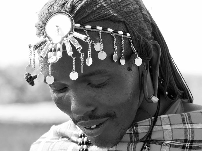 Childhood Close-up Day HEAD Head And Shoulders Headshot Kopfschmuck Massai Massai Kopfschmuck Nahansicht One Person Portrait Real People Schwarzweiß Young Adult EyeEm Selects The Portraitist - 2018 EyeEm Awards
