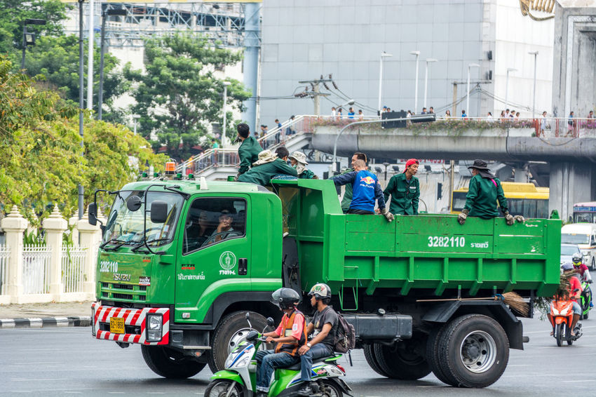 Garbage Truck Green Land Vehicle Mode Of Transport Motorcycle Outdoors Road Safety First! Street Cleaner Streetphotography Thailand_allshots Transportation Travel Truck Vehicle