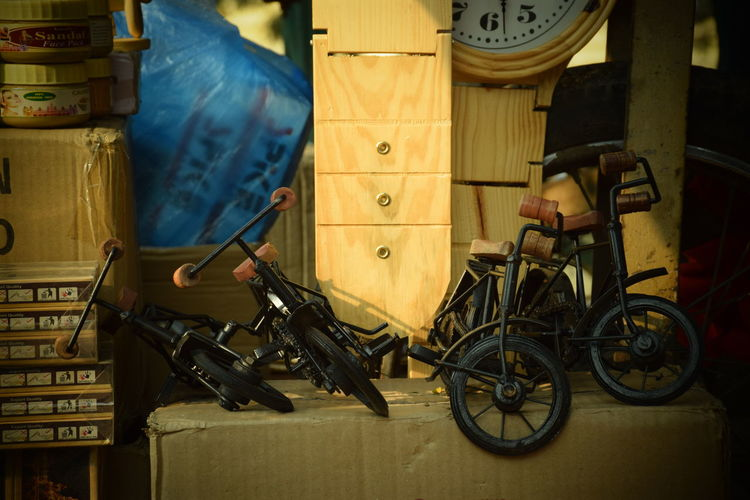 Toy bicycles on cardboard box