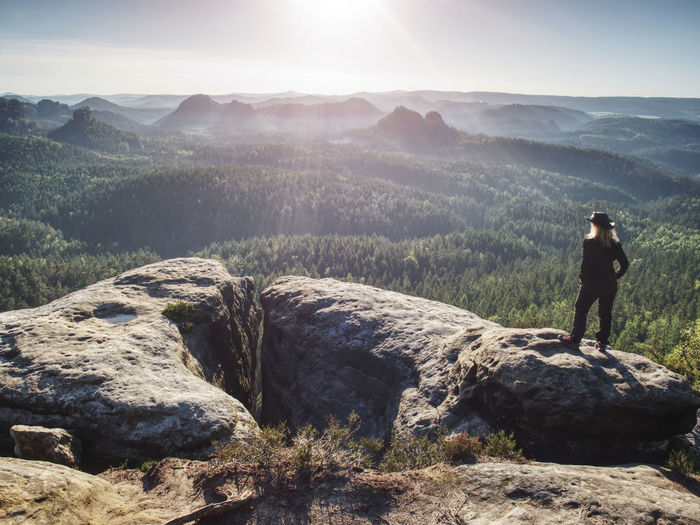 Adult cow woman standing on a rock with head held. beautiful sunrise view and sea of mist in morning