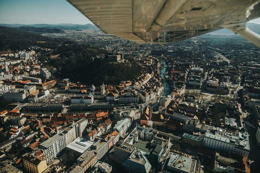 Cessna 172 (F170311-n3) City Cityscape Travel Destinations Aerial View Sky Travel Canon5DMkIV EyeEmNewHere Pilotlife Dont Look Down Aviationphotography Aerial Shot Airplane Flying High Aviation Tiny Planet Tinyworld Slovenia Cityscape Urban Skyline City Wings Ljubljana Ljubljana Castle Architecture