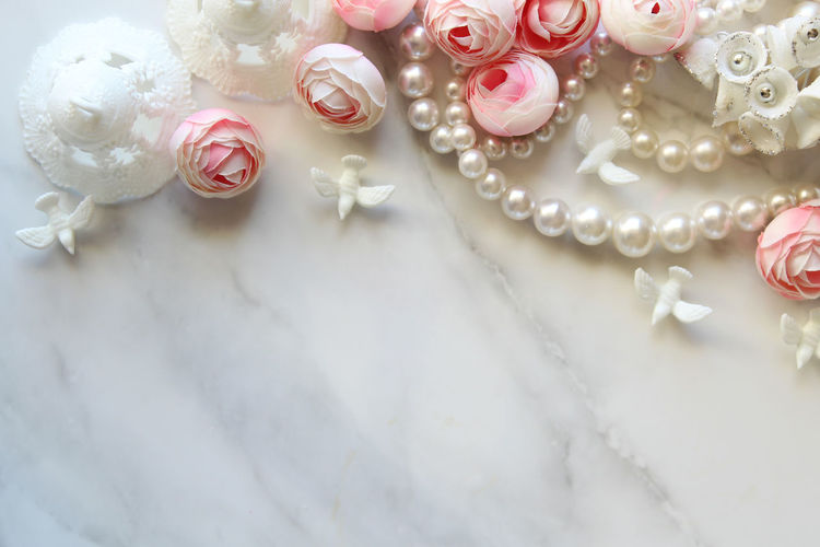 Bridal Beautiful Celebration Copy Space Doves Elegant Engagement Wedding Anniversary Backgrounds Bells Blush Pink Bridal Decorations Festive Frame Jewelry Luxury Marriage  Pearls Ranunculus Styled Template View From Above White White Color
