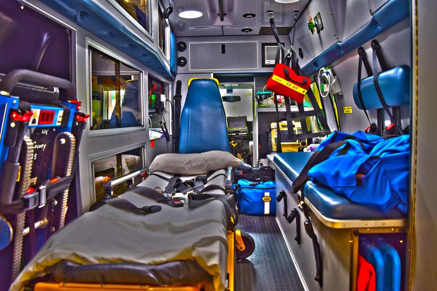 Ambulance Blue Bus EMS Mode Of Transport Public Transportation Transportation Travel Vehicle Interior Vehicle Seat