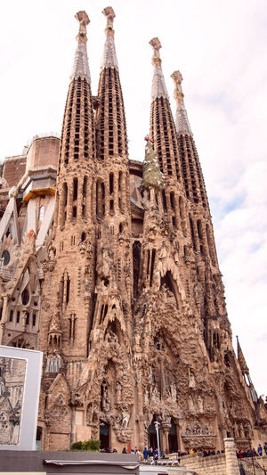 Sagrada Familia Barcelona spain catalonia cloudy day Built Structure Architecture Building Exterior Religion Travel Destinations Place Of Worship Belief Low Angle View The Past Spirituality Travel History Sky Tourism Building City Day No People Outdoors Gothic Style Ornate Ancient Civilization Sagrada Familia Gaudi Barcelona