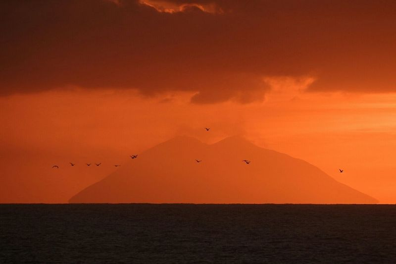 Lo stromboli visto dalla calabria. Volcano stromboli seen from the Calabrian coast Scenics Sea Flying Horizon Over Water Orange Color Tranquil Scene Sunset Water Majestic Sky Seascape Taking Pictures Taking Photos Sunsets Orange Sunset Seagulls And Sea Stromboli Volcano Volgocalabria Calabriadaamare Calabria Italy Sunset Sun Sea Season Summer Calabria South Italy