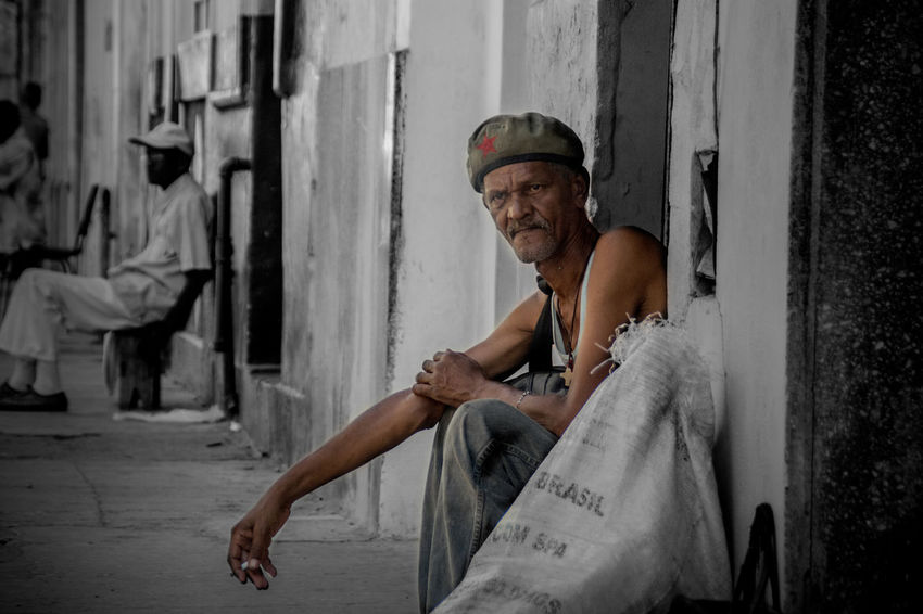 Selective Color Person Havana City Life Streetphotography Photoshop Photo Manipulation Poverty Portrate Candid