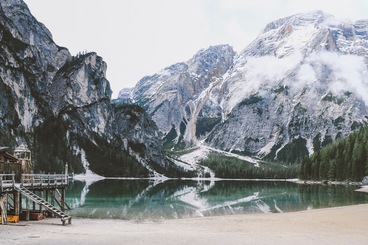 Lago di Braies / Pragser Wildsee Prager Wildsee Beauty In Nature Cold Temperature Day Frozen Iceberg Idyllic Lago Di Braies Lake Mountain Mountain Range Nature No People Outdoors Scenics Sky Snow Tranquil Scene Tranquility Tree Water Winter