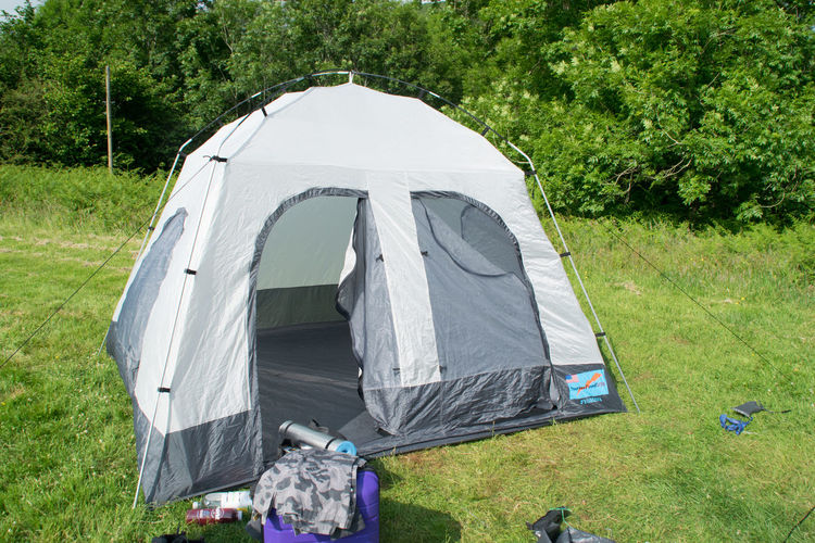 View of tent in field