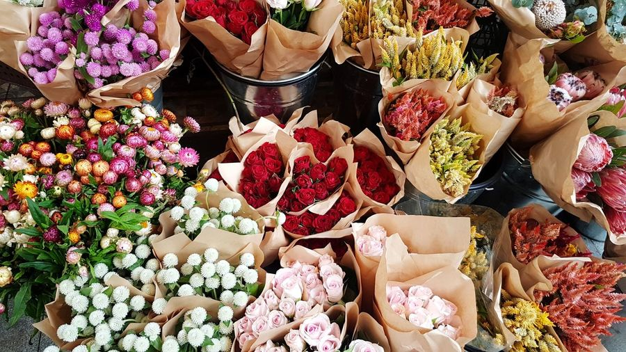 High angle view of various flowers for sale in market