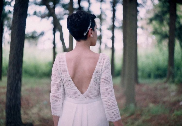 Beautiful Woman Day Film Photography Focus On Foreground Forest Leisure Activity Lifestyles Nature One Person Outdoors People Real People Standing Tree Wedding Women Young Adult Young Women