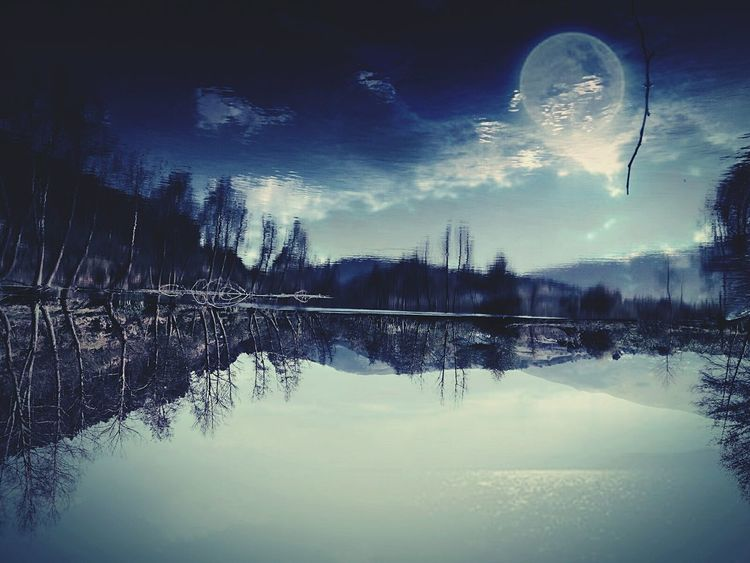 Moon Sky Night Reflection Lake Outdoors Water Astronomy Nature Sunset Beauty In Nature Reflection Nature Standing Water Mountain Break The Mold