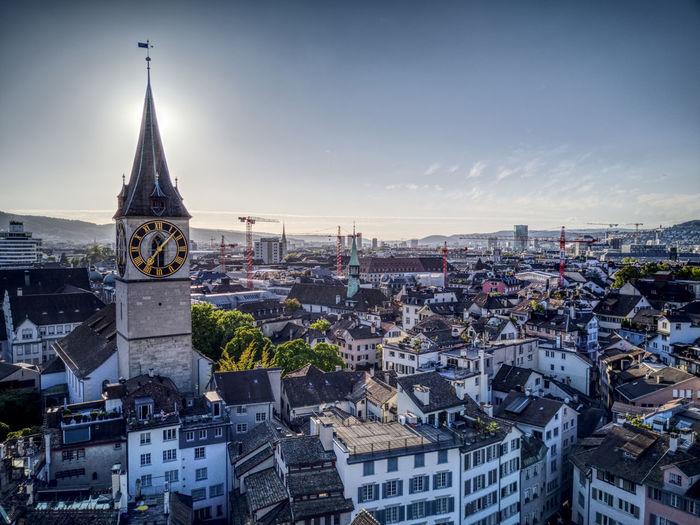 Church Drone  Zürich Building Exterior Built Structure City Dji Dronephotography Droneshot Golden Hour Mavic Outdoors