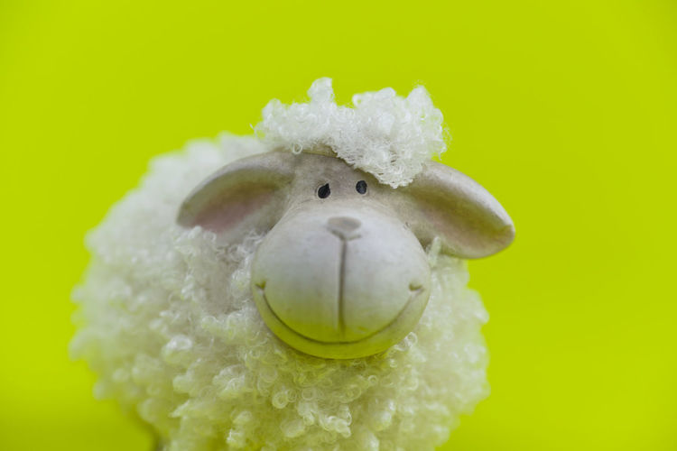 Studio Shot Colored Background Close-up No People Creativity Representation Single Object Indoors  Copy Space Toy Green Background Art And Craft Stuffed Toy Sheep Figurine  Easter Animal Representation Animal Green Color One Animal Play
