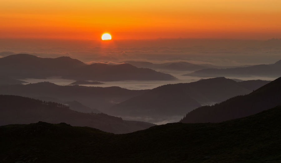 Sunrise in Rodeni Mountains Aerial View Beauty In Nature Cloud - Sky Landscape Landscape_Collection Mountain Mountain Range Nature No People Outdoors Scenics Sky Sun Sunlight Sunset Tranquility Travel Destinations
