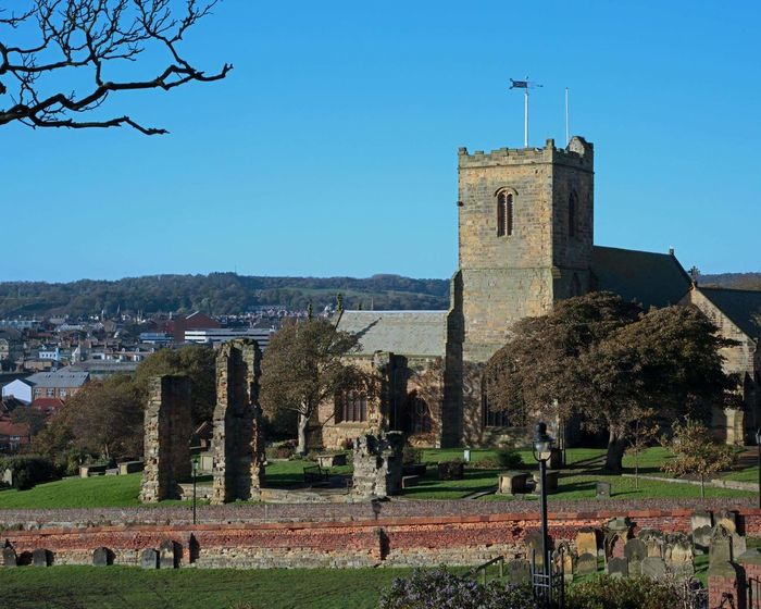 History No People Outdoors Building Exterior Sky Tree Clock St. Mary's Church Scarborough Yorkshire grave yard