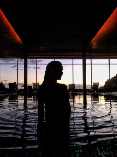 Pool Counterlight Silhouette One Person Water People Sunset