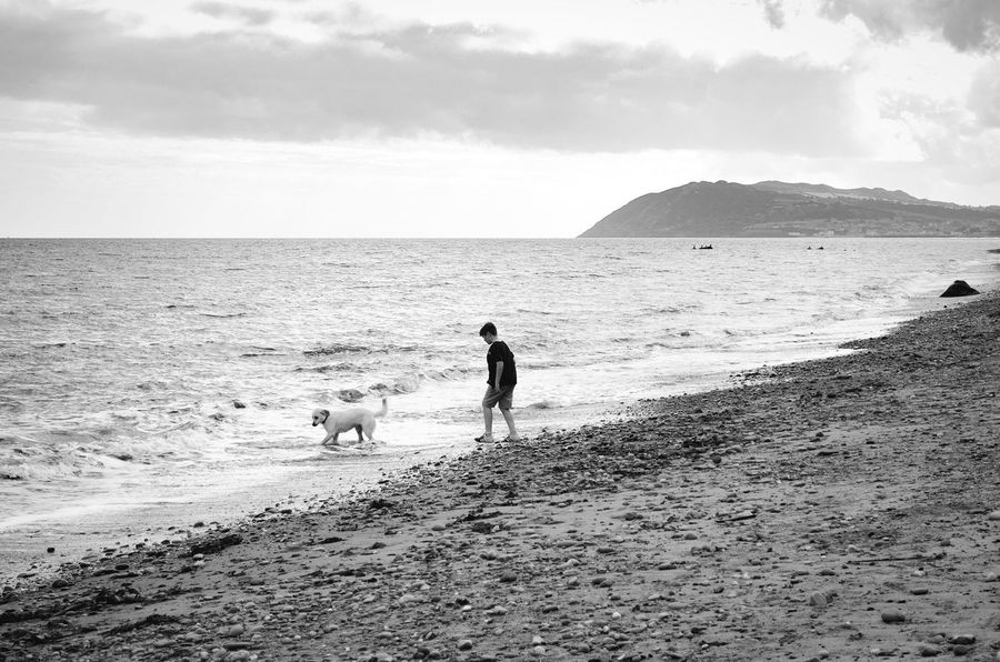 Beach Horizon Over Water Dog Walking Dog And Child Dog And Sea Sea Water Waves Boy Mountain Over Water Monochrome Photography Ireland Killkenny Rocky Beach Playing With Dog Childhood Child Photography Children Playing Child White Dog Dog In Water Dog Landscape Black And White Snap a Stranger Finding New Frontiers Your Ticket To Europe Pet Portraits