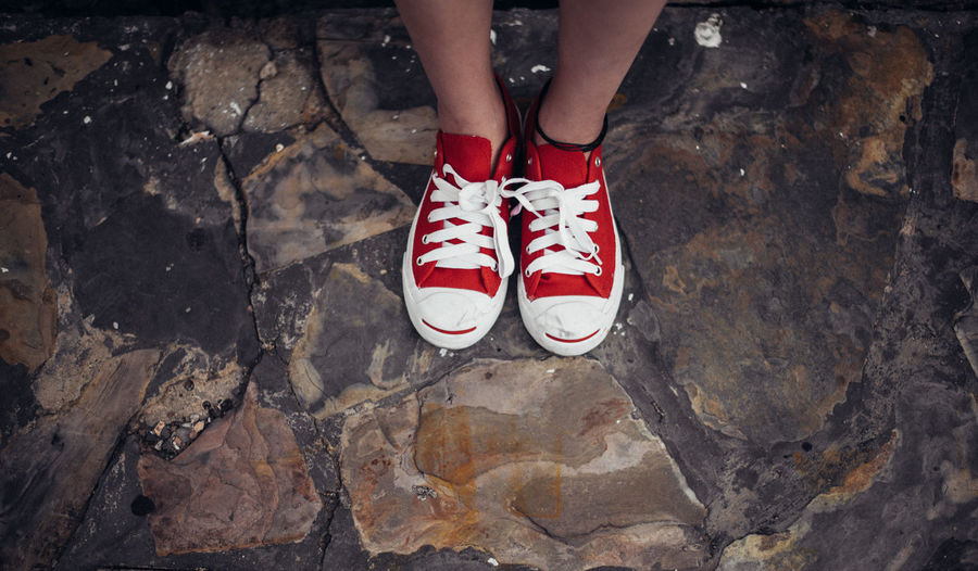 red shoes standing Alone Converse Lonely Red Shoes Standing Body Part Day Fashion High Angle View Human Body Part Human Foot Human Leg Human Limb Leisure Activity Lifestyles Low Section Nature One Person Outdoors Real People Red Shoe Standing Vintage Women