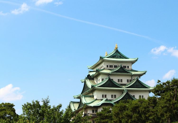 Low angle view of nagoya castle against sky