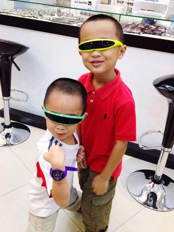 Little Boy Sunglasses Asian Boys Potrait Wearing Sunglasses