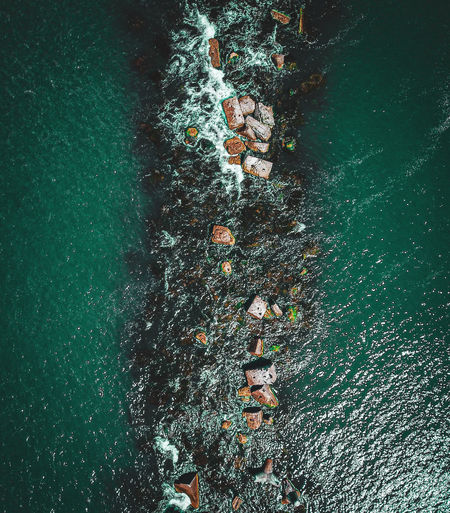 Aerial view of rocks in sea