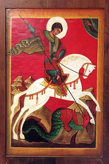 São Jorge contra o Dragão Horse Saint Religious Art Religion Dragon Saint George And The Dragon Saint George History Indoors  Adult Painted Image One Man Only Day People