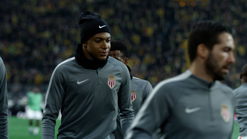 Mbappé warming up Champions Championsleague Competition Cup Game Grey Jersey Light Mbappe Men Monaco Night Nike Nike✔ Real People Soccer Soccer Field Soccer Player Sport Sports Sports Photography The Week On EyeEm UEFA Young Men