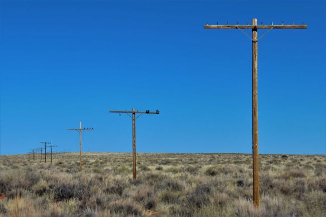Abandoned telephone poles along the original path of Route 66. Petrified Forest National Park, Arizona, USA. Abandoned Aged Antique Arizona Barren Bygone Times Clear Sky Derelict Empty Everything In Its Place No Wires Obsolete Original Outdoors Petrified Forest National Park Pole Receding Remote Route 66 Shoes Southwest  Telephone Pole Wooden