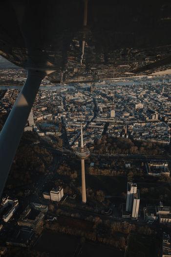 Sunset flight over colonius, germany