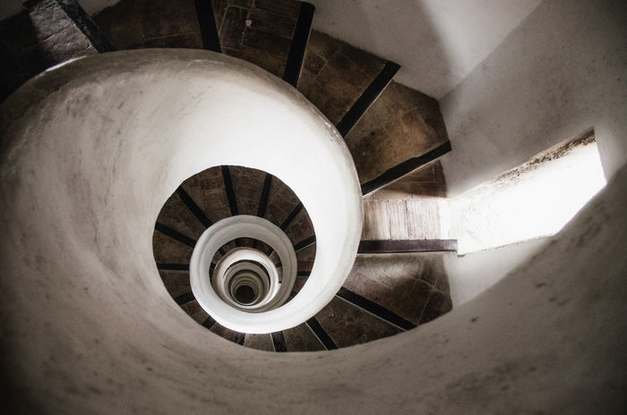 Spiral stone staircase in tower of old church in Valencia, Spain SPAIN Valencia, Spain València Architecture Built Structure Ceiling Circle Directly Above Directly Below Geometric Shape High Angle View Indoors  Railing Shape Spiral Spiral Staircase Staircase Steps And Staircases Tower