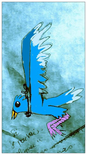"""Riding the big blue bird"" Drawing Hanging Out Enjoying Life Imaginary"