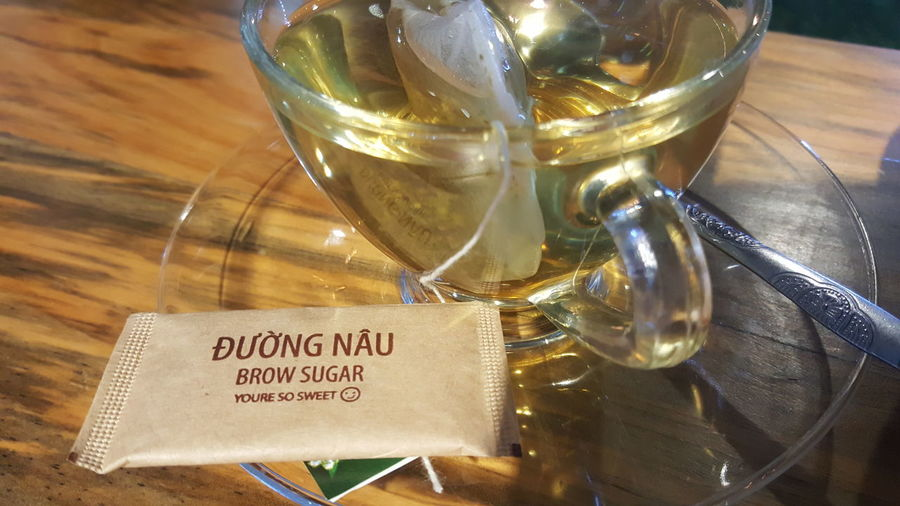 So sweet, even if you can't spell. Brown sugar at Da Nang Souvenirs Cafe in Vietnam. Text Drink Đà Nẵng Vietnam Cafés Sugar Language Errors
