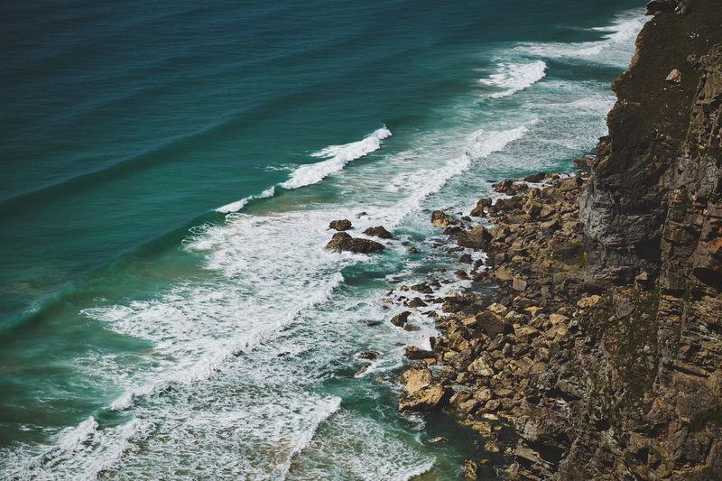 High angle view of beach near bedruthan steps