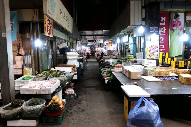 Street market in city at night