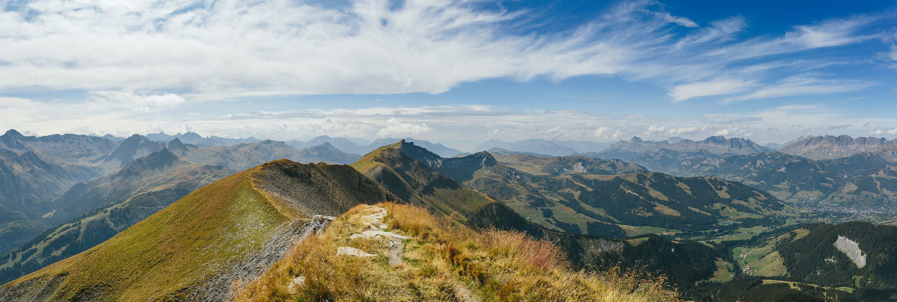 Panoramic view from the top of the mont-joly, alt. 2'525m, overlooking the village of megeve.
