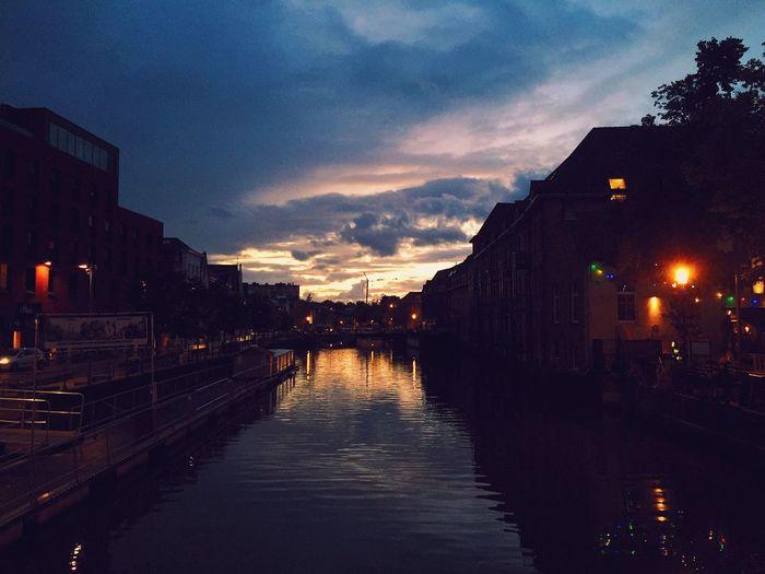 City at waterfront at dusk
