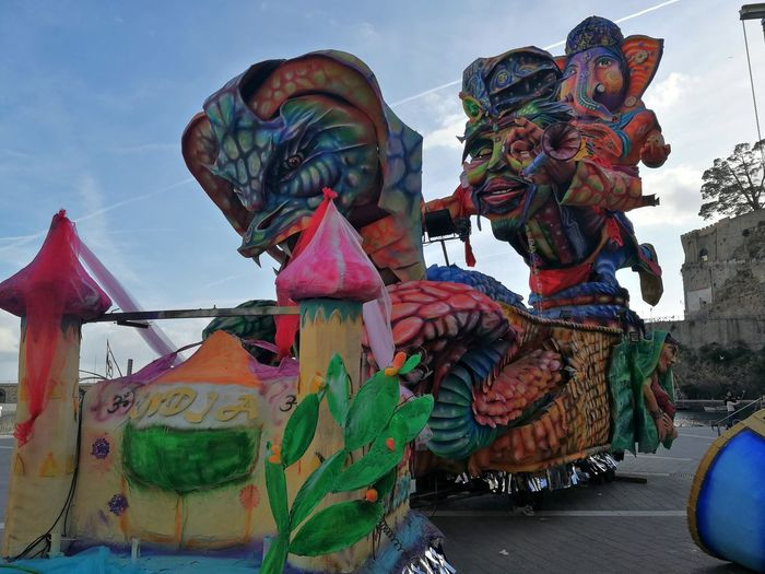 Maiori, Campania, Italy - March 4, 2019: Allegorical floats in the square of the port for the 46th edition of the Grand Carnival of Maiori Italy Campania Grand Carnival Of Maiori Amalfi Coast Colorful Floats Carnival - Celebration Event Allegorical Floats Maiori, Day Art And Craft Creativity Multi Colored Representation Sky Sculpture Craft Human Representation Outdoors Statue Arts Culture And Entertainment Close-up Amusement Park Cloud - Sky Festival
