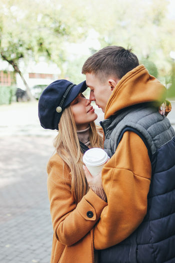 Couple romancing in winter