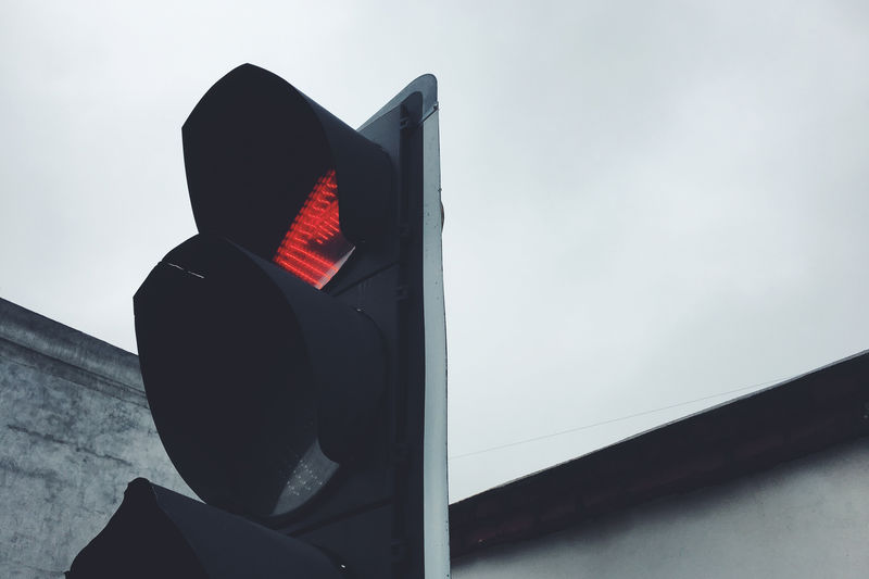 Red Light Safety Sky Stoplight Sign Security Guidance Light Low Angle View Close-up Transportation