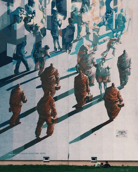 The Magic Mission Walking City Streetart Mural Painting Minimalism City Life Silhouette Architecture