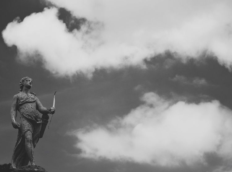 Garden feature, Hever Castle Statue Cloud - Sky Human Representation Sculpture Sky Low Angle View Art And Craft Male Likeness Outdoors Day No People Nature Blackandwhite Garden Photography Castle Grounds VSCO EyeEm Best Shots