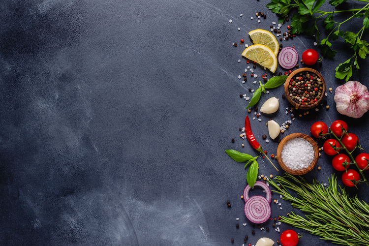 High angle view of fruits on table against black background