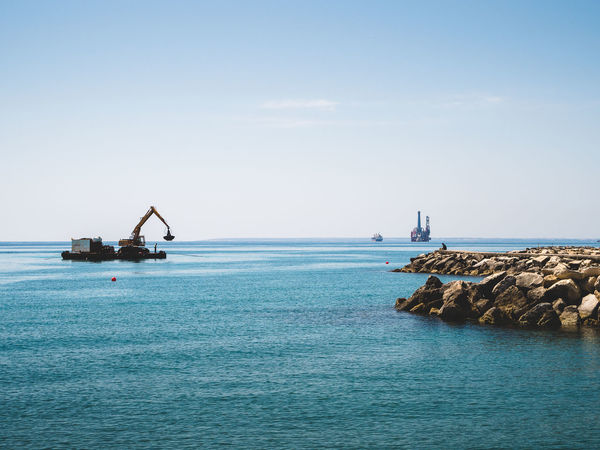 Blue Color Coastline Copy Space Day Horizon Over Water Marine Work Nature Offshore Platform Outdoors Sea Sea And Sky Seascape Water