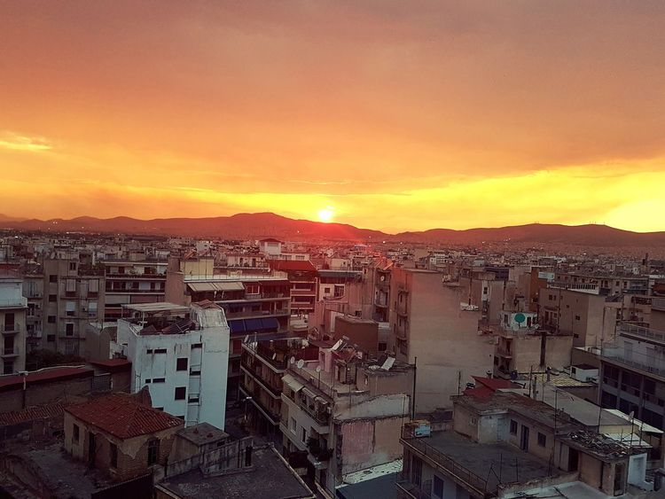 urban sunset... High Angle View Sky City Sunset Viewpoint View Building Exterior Built Structure Urban Sunset Sunset City Athens City City Sunset Residential District Urban Scene TOWNSCAPE Town Exterior Building Urban Skyline Panoramic