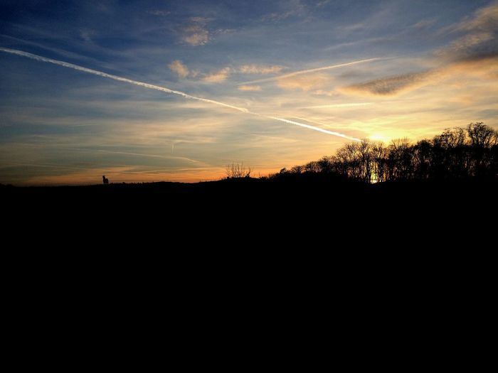 Beauty In Nature Contrail Day Landscape Nature No People Outdoors Scenics Silhouette Sky Sunset Tranquil Scene Tranquility Vapor Trail