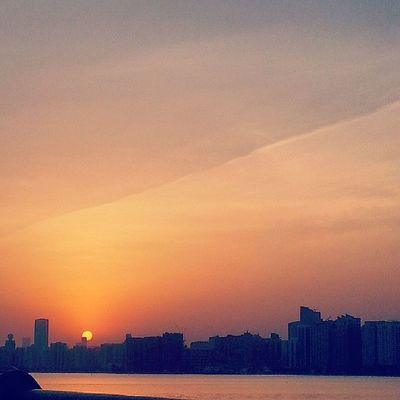 Sunrise Sun Dawn Skyline city clouds abudhabi uae cornish love ♡ sleepy abu dhabi ♡