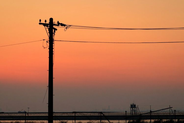 Sunset Silhouette Power Line  Cable No People Wires Sunset_collection Japan Chiba Egawa Kaigan Utility Pole