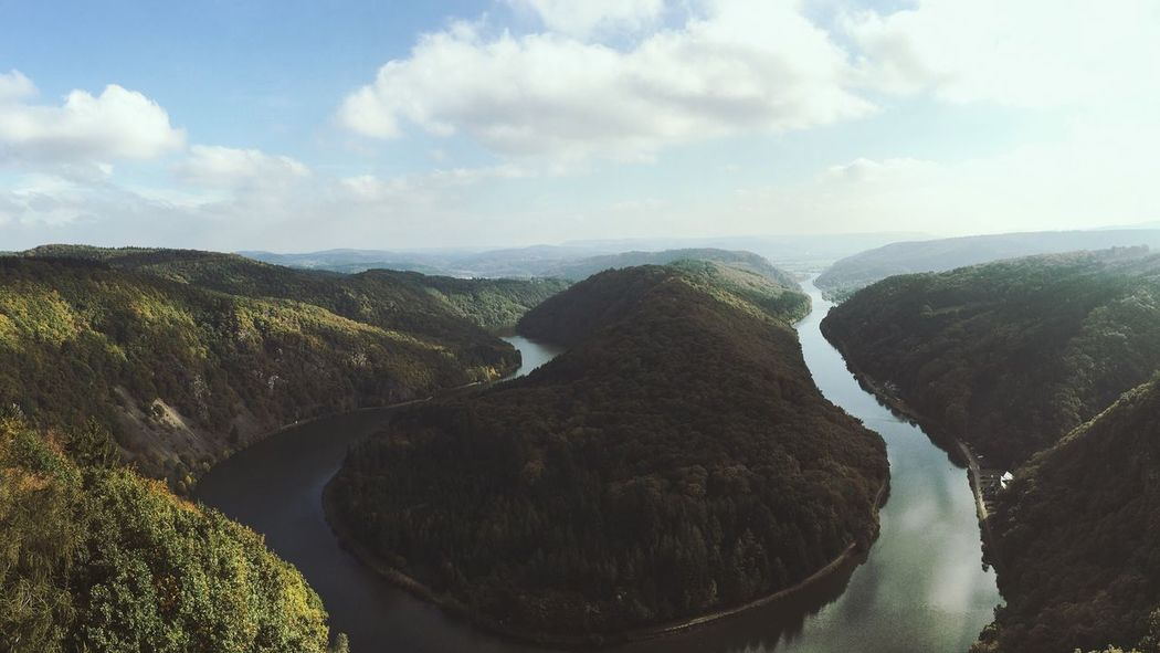 Nature Beauty In Nature Sky Scenics Tranquil Scene Mountain Tranquility Physical Geography Idyllic Geology Non-urban Scene Cloud - Sky Day Landscape No People Outdoors Mountains Landscape_Collection Mountain View Saarschleife Mountain Range Mountains And Sky River Saarland Panorama