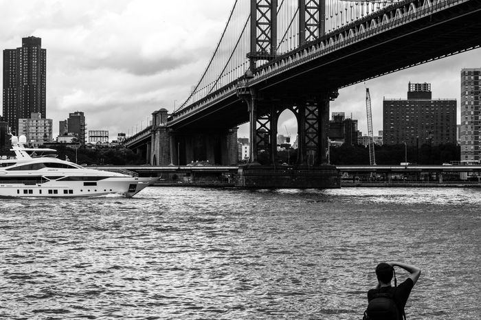 Photographic scene and a Photographer. Black And White Photography NYC Photography Brooklyn Bridge Yacht River Photographer Buildings Sony A6000 Project365
