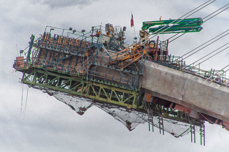 Low angle view of under construction mike o callaghan pat tillman memorial bridge against sky